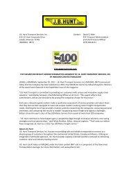 IL Top 100 Motor Carrier Press Release - J.B. Hunt Transport ...
