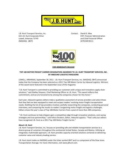IL Top 100 Motor Carrier Press Release - J B  Hunt Transport
