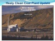 Healy Clean Coal Plant Update - Alaska Miners Association