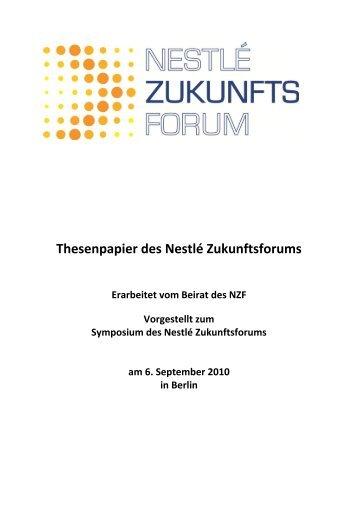 Thesenpapier des Nestlé Zukunftsforums