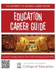 EDUCATION CAREER GUIDE - Career Center - University of Georgia