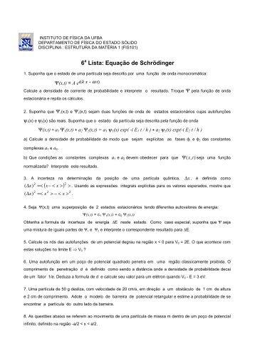 6 Lista: Equação de Schrödinger - Instituto de Física da UFBA