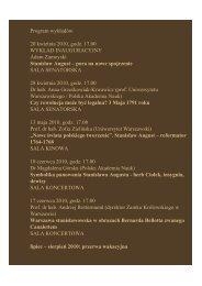 Program wykładów na Zamku Królewskim w Warszawie