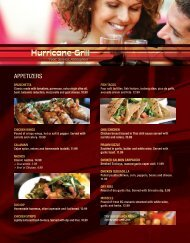 Hurricane Grill Dinner Menu 2011 - MainMenus.com