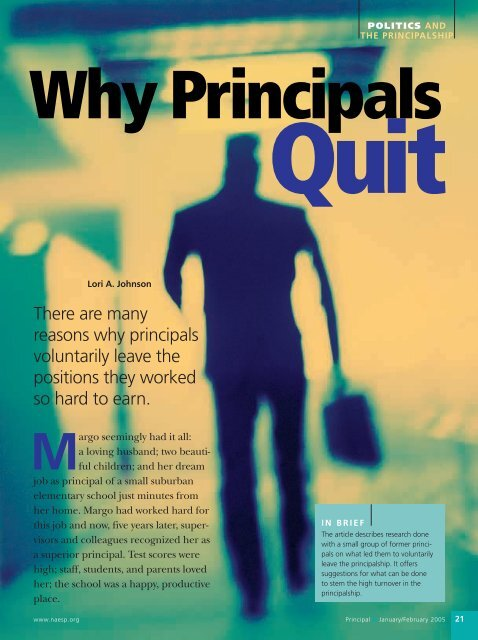 Why Principals Quit - National Association of Elementary School ...
