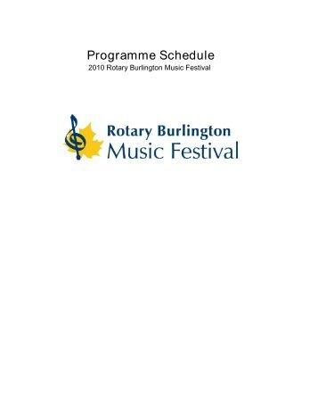 Programme Schedule - Rotary Burlington Music Festival