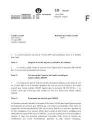 Décisions du Comité exécutif 269 e réunion