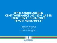 oppilaanohjauksen kehittämishanke 2003-2007 ja sen esiintuomat ...