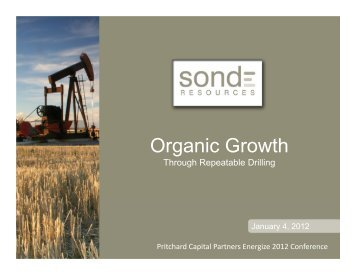 Organic Growth - Sonde Resources