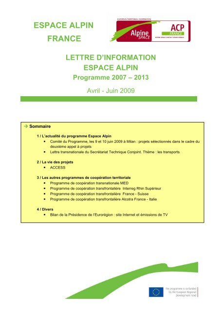 Juin 2009 - FEADER en Rhône-Alpes