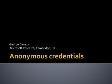 Anonymous credentials