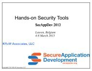 Security tools. A hands-on session - Secure Application Development