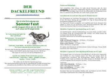 Der Dackelfreund - Nr. 3/2011 - Teckelklub Wiesbaden/ Mainz