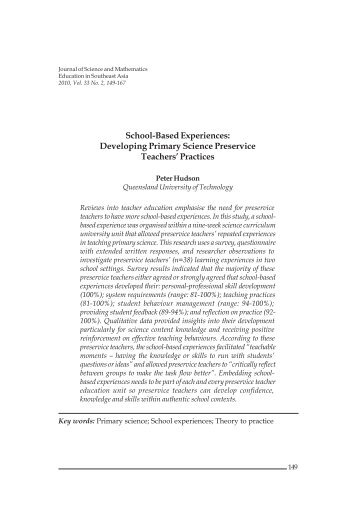 School-Based Experiences: Developing Primary Science Preservice ...