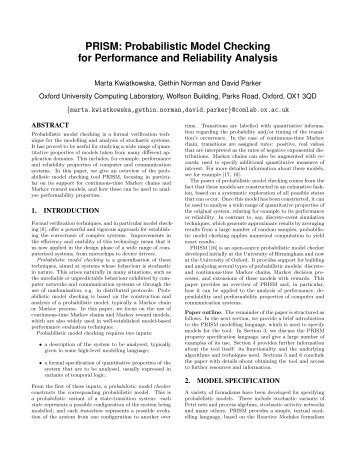 PRISM: Probabilistic Model Checking for Performance and ...