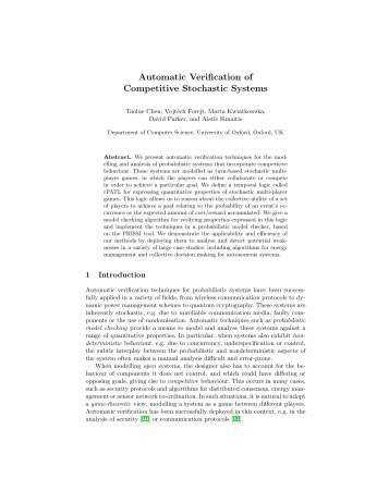 Automatic Verification of Competitive Stochastic Systems - PRISM