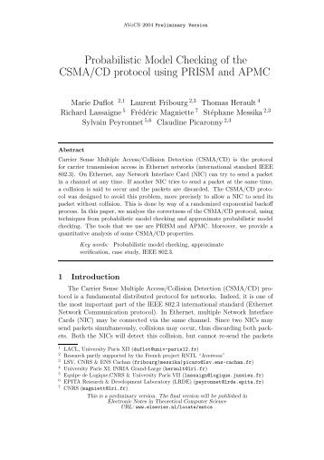 Probabilistic Model Checking of the CSMA/CD protocol ... - PRISM