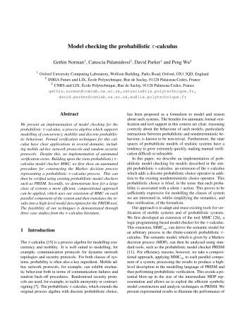 Model checking the probabilistic π-calculus - PRISM