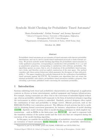 Symbolic Model Checking for Probabilistic Timed ... - ResearchGate