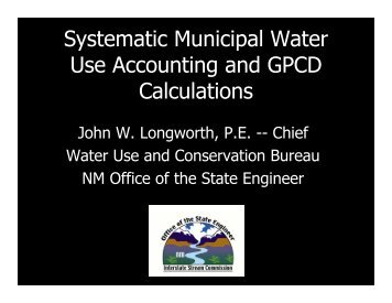 Systematic Municipal Water Use Accounting and GPCD Calculations