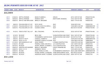 bldg permits issued for june 2012 - Sherburne County Minnesota