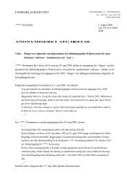 Klage over afgørelse om dispensation fra tilslutningspligt til ...
