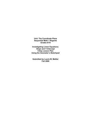 Unit: The Coordinate Plane Sequential Math 1 Regents Grades 9/10 ...