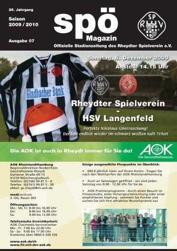 HSV Langenfeld Spö-Magazin - 26. Jhg ... - beim Rheydter SV
