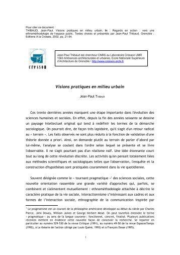 THIBAUD Jean-Paul, 2002, Visions pratiques en milieu urbain