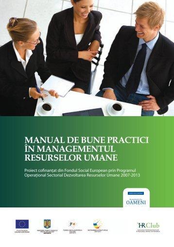Manual de bune practici în managementul resurselor umane