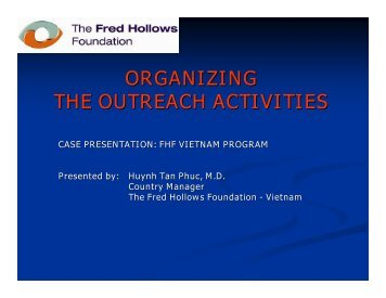ORGANIZING THE OUTREACH ACTIVITIES - LAICO