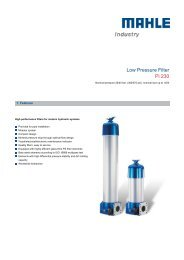 Low Pressure Filter Pi 230 - MAHLE Industry - Filtration