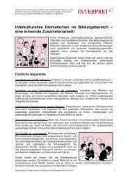 Argumente für den Einsatz des interkulturellen ... - INTERPRET