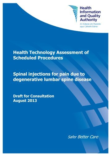 Spinal injections for pain due to degenerative lumbar spine ... - hiqa.ie