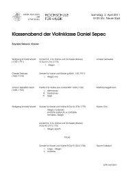 Klassenabend der Violinklasse Daniel Sepec - Musik-Akademie Basel