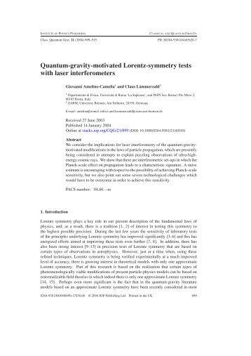 Quantum-gravity-motivated Lorentz-symmetry tests with ... - ZARM
