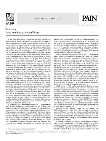 Pain, avoidance, and suffering - Chronic Care Clerkship