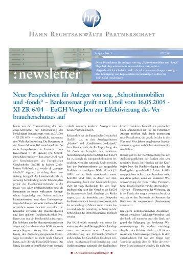 Newsletter 03/2006 - Hahn Rechtsanwälte Partnerschaft
