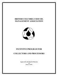 Incentive Program for Collectors & Processors - Alberta Used Oil ...