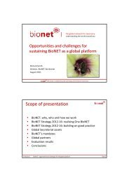 | Scope of presentation - BioNET