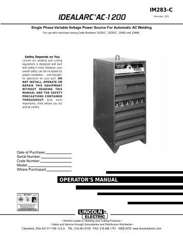 Arc 210 operators Manual