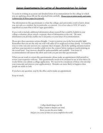 Counselor packet pvhs college recommendation questionnaire senior questionnaire for letter of recommendation for holmdel spiritdancerdesigns Choice Image
