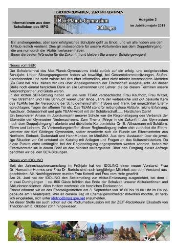 MPG-Info Ausgabe 2 / 2011 - Max-Planck-Gymnasium Göttingen