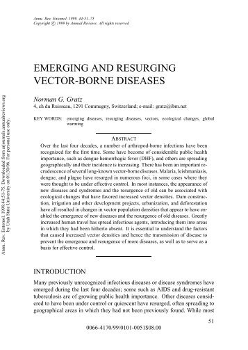 EMERGING AND RESURGING VECTOR-BORNE DISEASES