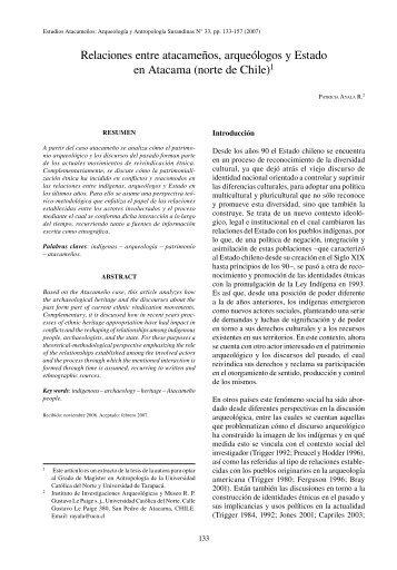 Relaciones entre atacameños, arqueólogos y Estado en ... - SciELO