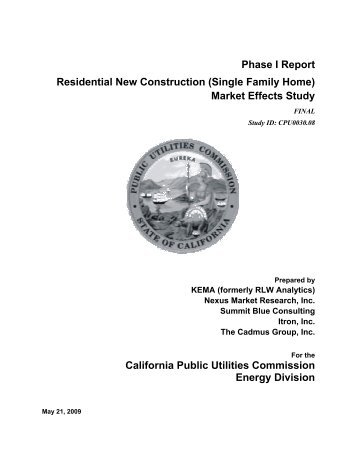Phase I Report Residential New Construction (Single ... - calmac