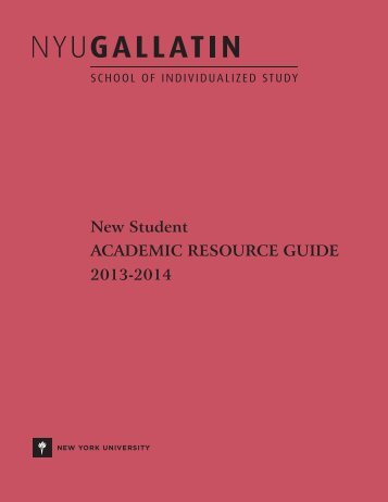 New Student ACADEMIC RESOURCE GUIDE 2013-2014