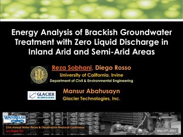Energy Analysis of Brackish Groundwater Treatment with Zero ...