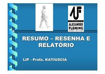 (Microsoft PowerPoint - AULA RESUMO- RESENHA - RELAT ...