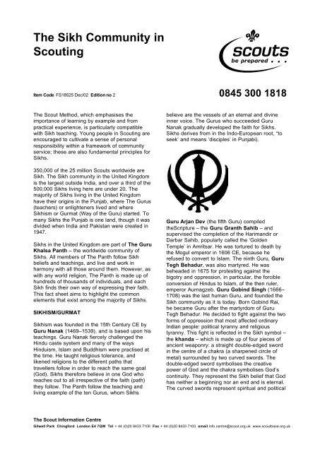 The Sikh Community in Scouting pdf - Raj Karega Khalsa Network